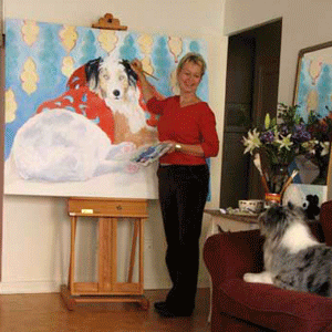 dog portrait artist in studio